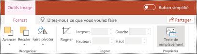 Bouton texte de remplacement dans le ruban d'une image dans PowerPoint online.