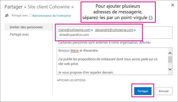Tapez les adresses de courrier des clients qui doivent obtenir une invitation pour accéder au sous-site.
