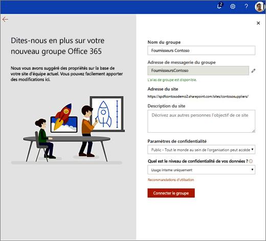 Il s'agit de la nouvelle page de propriétés de groupe Office 365.