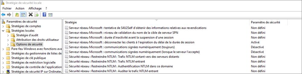 Fenêtre stratégie de sécurité locale, avec les options de sécurité montrant les paramètres OneDrive corrigés