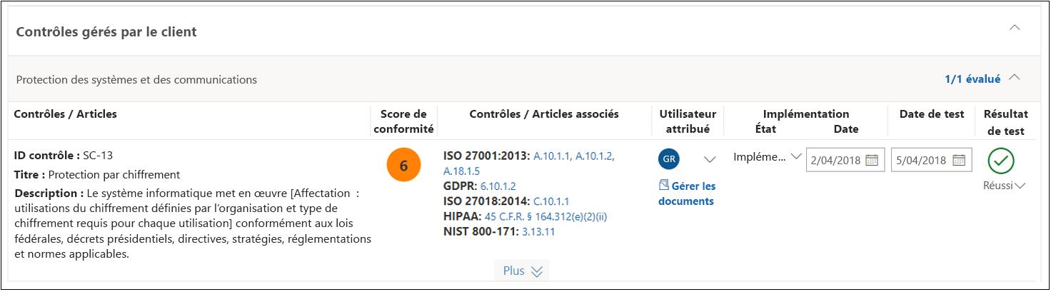 Analyse du Gestionnaire de conformité - NIST 800-53 SC(13) terminé