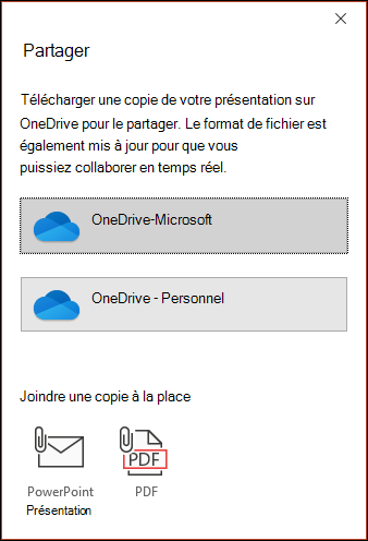 Boîte de dialogue partager dans PowerPoint proposant de télécharger votre fichier sur le Cloud Microsoft afin de pouvoir le partager en toute transparence.