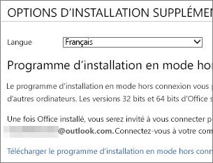 Télécharger le programme d'installation en mode hors connexion