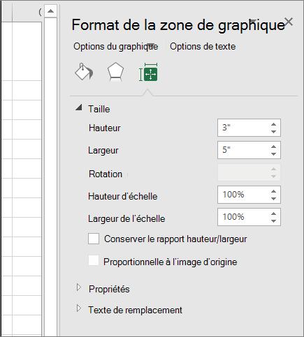 Vous pouvez ajuster la taille du graphique dans la boîte de dialogue Format de la zone graphique