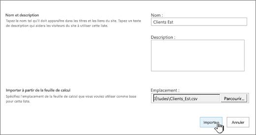 Boîte de dialogue Nouvelle application dont les champs Nom et Emplacement du fichier sont renseignés, option Importer sélectionnée
