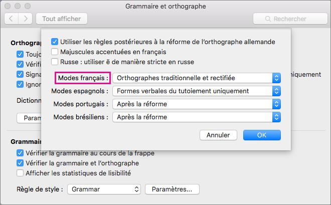 Sélectionnez des règles pour vérifier l'orthographe du français dans la liste Modes français.