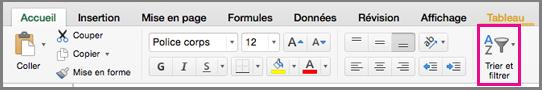 Commande Trier et filtrer dans Excel pour Mac