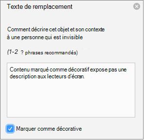 Case à cocher décorative sélectionné dans le volet de texte de remplacement