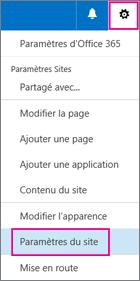 Dans le coin supérieur droit, sélectionnez le bouton Paramètres, puis sélectionnez Paramètres du site.