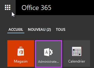 Lanceur d'applications Office365 avec Administrateur mis en évidence