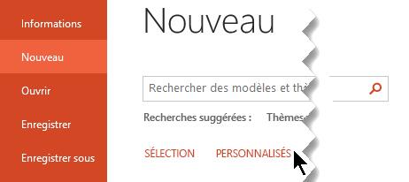Sous fichier > nouveau, sélectionnez l'option personnalisée pour afficher vos modèles personnels