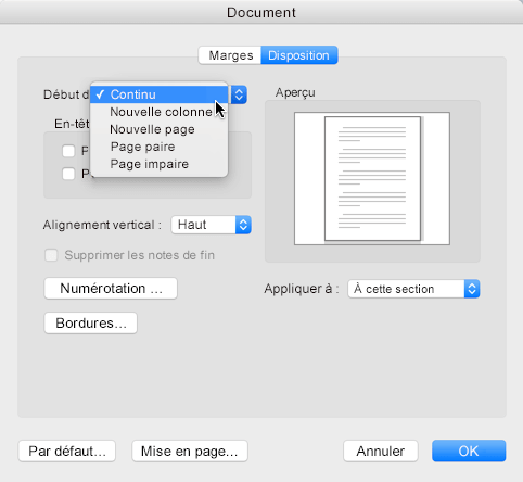 Pour définir un saut de section sur Continu, accédez au menu Format, cliquez sur Document, puis définissez le début de section sur Continu.