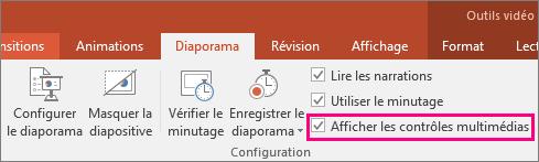 Option Afficher les contrôles multimédias dans PowerPoint