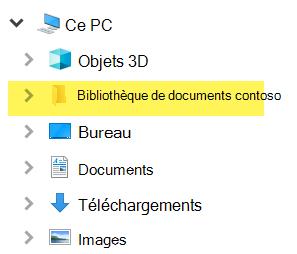 Dans l'Explorateur de fichiers, la bibliothèque mappée s'affiche sous la forme d'une entrée de dossier sous ce PC.
