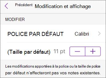 Options de modification du type et de la taille de police dans les Réglages sur iPhone