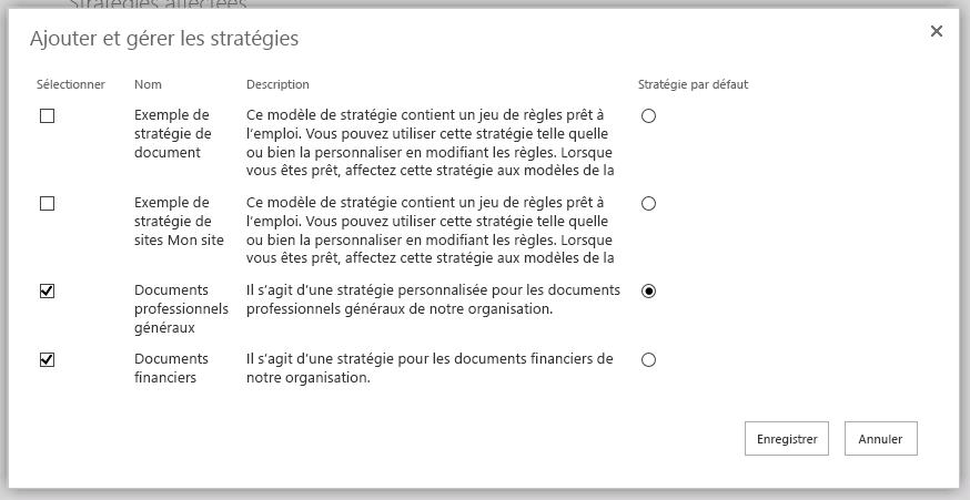 Ajouter et gérer des pages de stratégies