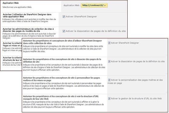 Pages des paramètres de SharePoint Designer