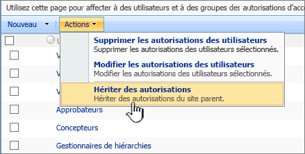 Hériter des option d'autorisations sur le menu d'Action