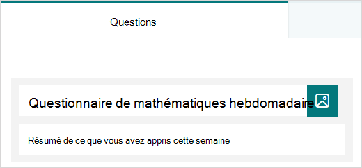 Exemple de titre et de description d'un questionnaire dans Microsoft Forms
