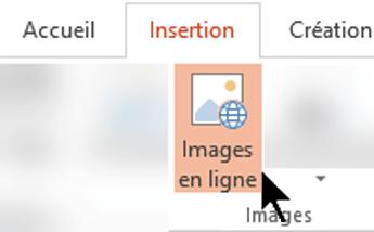 Dans le ruban de barre d'outils, sélectionnez Insérer, puis sélectionnez Images en ligne