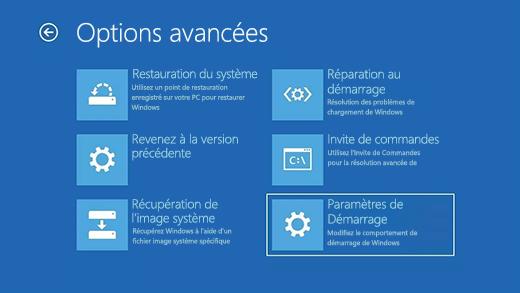 Écran des options avancées dans l'Environnement de récupération Windows (WinRE).
