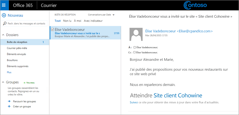 Exemple de message électronique invitant les clients à accéder au sous-site d'un client