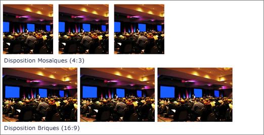 Exemples de dispositions de vignettes et de briques pour le composant WebPart bibliothèque d'images