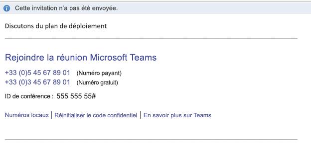 Lien Rejoindre la réunion Microsoft Teams dans le corps de l'événement