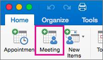 Office2016 pour Mac - Bouton Réunion