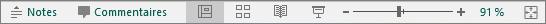 Boutons des modes en bas de l'écran dans PowerPoint