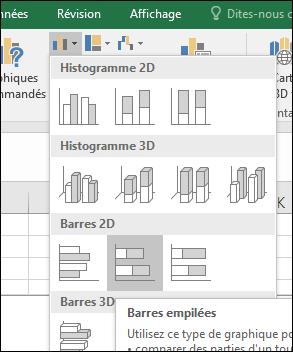 Graphique à barres empilées dans Excel2016