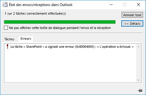 Erreur lors de la connexion à une bibliothèque de documents SharePoint