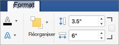 Indiquez les valeurs de hauteur et largeur