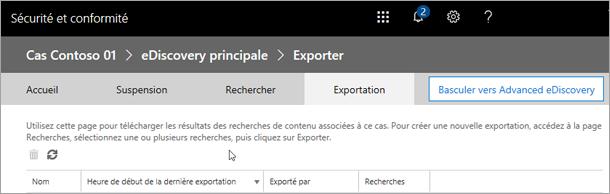 Cliquez sur Exporter pour afficher la liste des tâches d'exportation