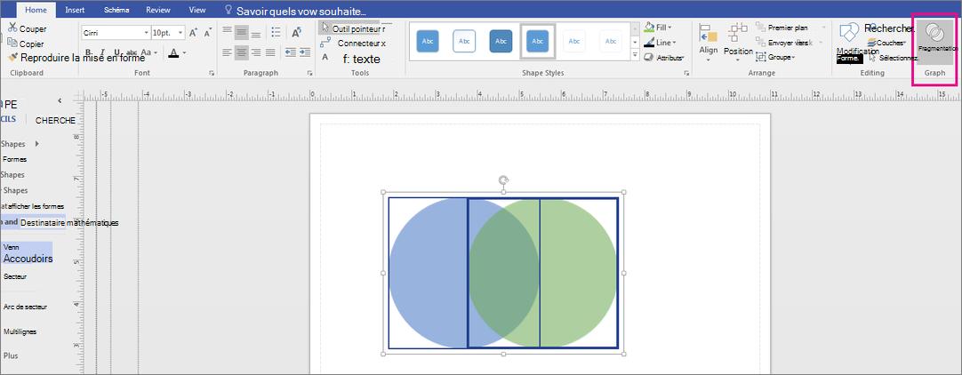 Cliquez sur Fragment dans la zone du graphique.