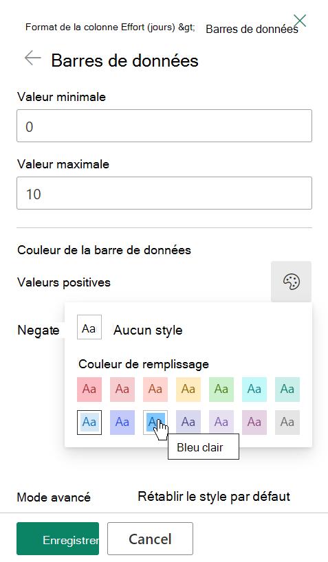 Options de modification du modèle pour les barres de données pour la mise en forme de colonnes SharePoint