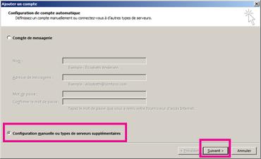 Utiliser la configuration manuelle dans Outlook2013