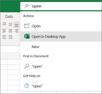 Sélection de l'ouverture dans l'application de bureau Excel