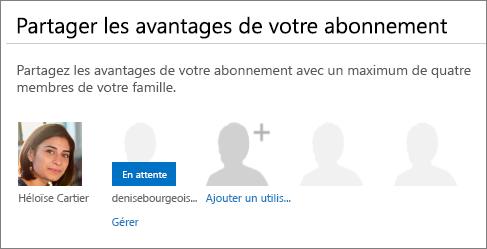 Capture d'écran de la section «Partager les avantages de votre abonnement» de la page Partager Office365 montrant un utilisateur partagé en attente.