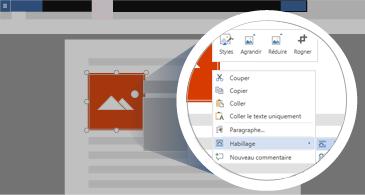 Document avec une image sélectionnée et une zone agrandie montrant les options de manipulation de l'image disponibles
