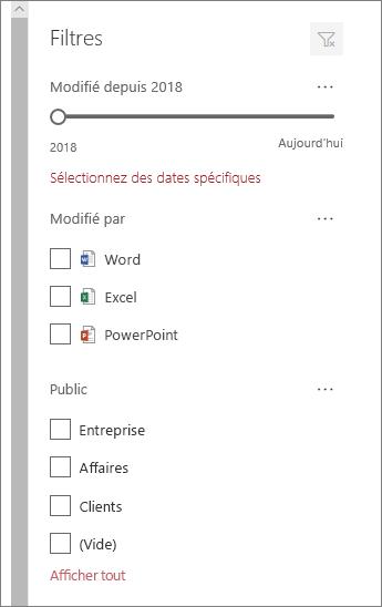 Volet filtre de document