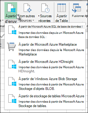 Power Query importer à partir de la boîte de dialogue Azure