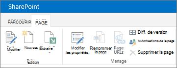 SharePoint 2013 ruban dans le coin supérieur gauche de l'écran