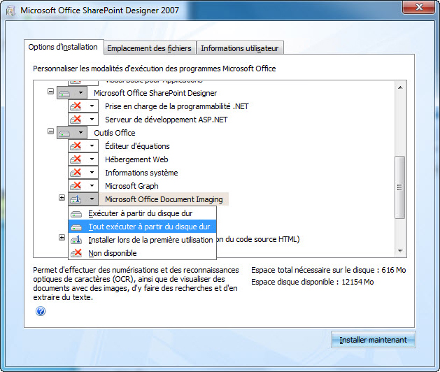 Capture d'écran indiquant l'emplacement de MODI lors de l'installation de SharePoint Designer2007