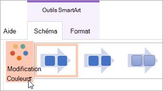 Affiche le bouton Modifier les couleurs sous l'onglet Création
