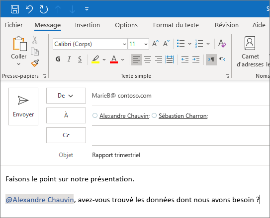 Fonctionnalité @mention dans Outlook