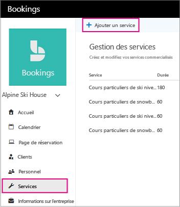 Page avec l'option Ajouter un lien de service mis en évidence des services