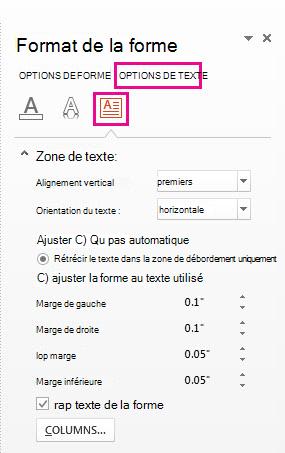 Paramètres des marges de la zone de texte
