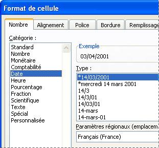Boîte de dialogue Format de cellule