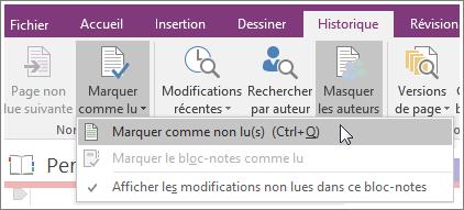 Capture d'écran du bouton Marquer comme lu dans OneNote2016.